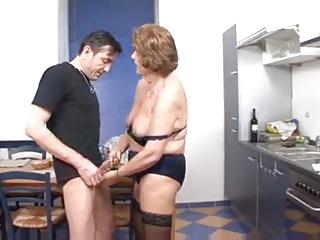 german kitchen fuck - Granny fucked on the kitchen table.